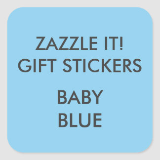 Custom BABY BLUE SQUARE Large Gift Stickers