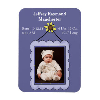 Custom Baby Boy Photo Birth Announcement Magnet