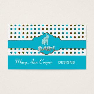 Custom Baby Bunny Blue Cute Polka Dots Patterns Business Card