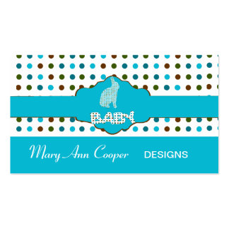 Custom Baby Bunny Blue Cute Polka Dots Patterns Pack Of Standard Business Cards