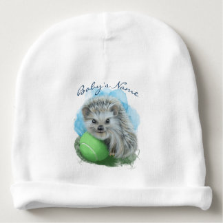 Custom Baby Cotton Beanie - Playful Hedgehog Baby Beanie