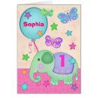 Custom Baby Girl's First Birthday Cupcake Card