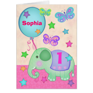 Custom Baby Girl's First Birthday Cupcake Card