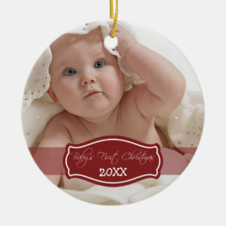 Custom Baby s First Christmas Ornament red
