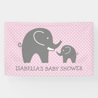 Custom baby shower banner sign with grey elephants