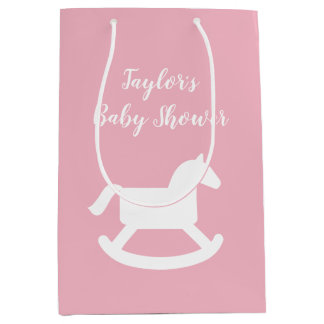 Custom baby shower gift bags with rocking horse