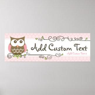 Custom Baby Shower Owl banner Poster