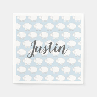 Custom baby shower party napkins with cute sheep paper napkin