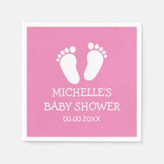 Custom Baby Shower party napkins with footprints Disposable Serviettes