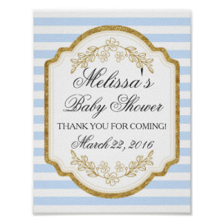 Custom Baby Shower Sign, Blue Gold,Welcome Poster