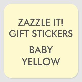 Custom BABY YELLOW SQUARE LARGE Gift Stickers