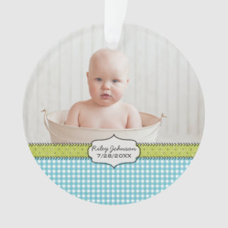 Custom baby's 1st christmas photo name keepsake