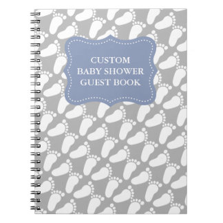 Custom babyshower guestbook with baby footprints spiral notebooks