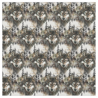 Custom back Color Wolf Mountain Animal Nature Art Fabric