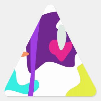 Custom Background Color Cheerful Boy Triangle Sticker