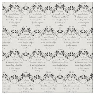 Custom Background Color I am the Vine Bible Quote Fabric