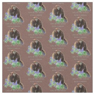 Custom Background Color Rock Climbing Marmot Quote Fabric