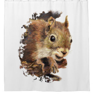 Custom Background Color Squirrel Animal Art Shower Curtain