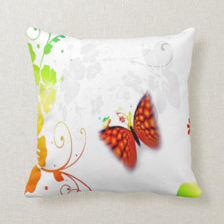 custom background colour floral butterfly pillow