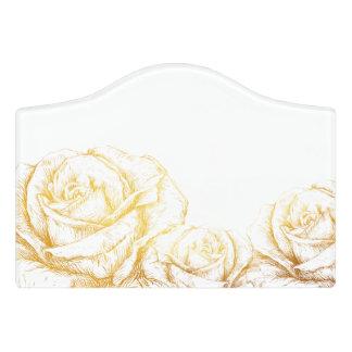 Custom Background Vintage Roses Floral Faux Gold Door Sign