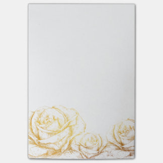 Custom Background Vintage Roses Floral Faux Gold Post-it® Notes