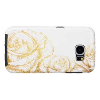 Custom Background Vintage Roses Floral Faux Gold Samsung Galaxy S6 Cases