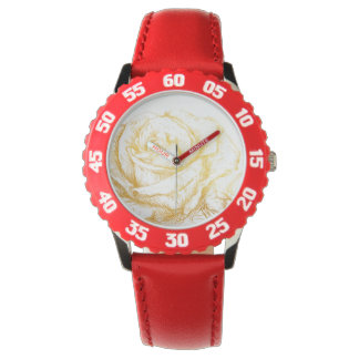 Custom Background Vintage Roses Floral Faux Gold Watch