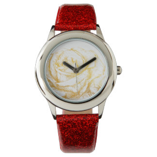 Custom Background Vintage Roses Floral Faux Gold Wristwatch