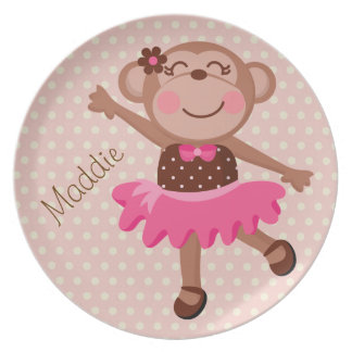 Custom Ballerina Monkey Kids Plate