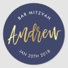 CUSTOM Bar Mitzvah for Andrew navy + gold Classic Round Sticker