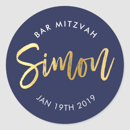 CUSTOM Bar Mitzvah for Simon navy + gold Classic Round Sticker