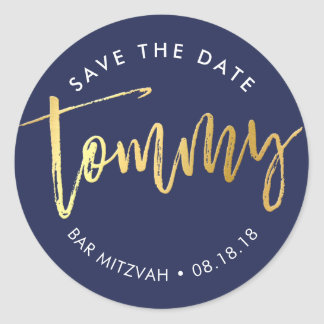 CUSTOM Bar Mitzvah for Tommy navy + gold Classic Round Sticker