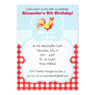 Custom Barnyard Rooster Birthday Party Card