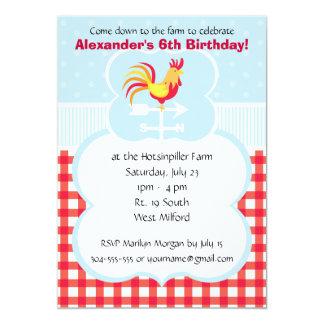 Custom Barnyard Rooster Birthday Party Invite