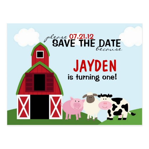 Custom Barnyard Save The Date or Invitations Post Card