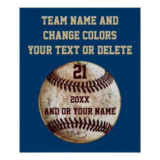 Custom Baseball Posters with Your TEXT and COLORS