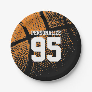 Custom basketball birthday party paper plates