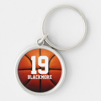 Custom Basketball Numbers Silver-Colored Round Key Ring
