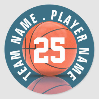 Custom Basketball Team Round Sticker