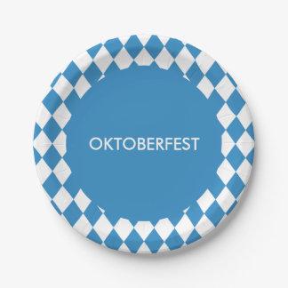 Custom Bavarian Geometric Pattern for Oktoberfest. Paper Plate