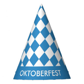 Custom Bavarian Geometric Pattern for Oktoberfest. Party Hat