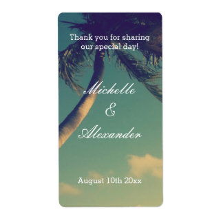 Custom beach destination wedding wine bottle label shipping label