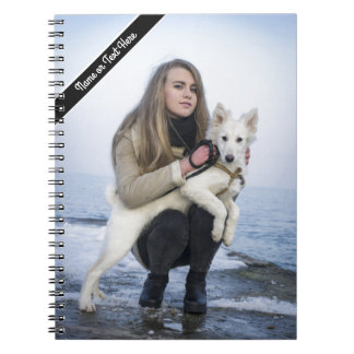 Custom Beach Dog and Girl  Photo template Spiral Notebook