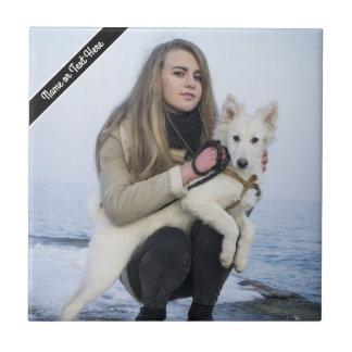 Custom Beach Dog and Girl  Photo template Tile