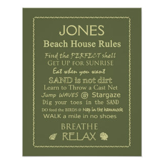 Custom Beach House Rules Poster