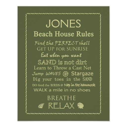 Custom Beach House Rules Poster