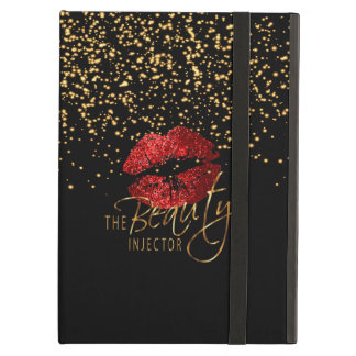 Custom -Beauty Injector - Gold Confetti & Red Lips Cover For iPad Air