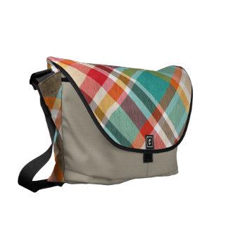 Custom Beige and Teal Tartan Designer Shoulder Bag Messenger Bags