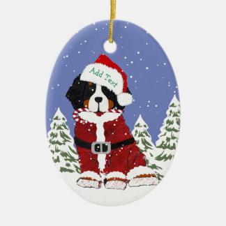 Custom Bernese Mountain Dog Santa Paws Ceramic Ornament
