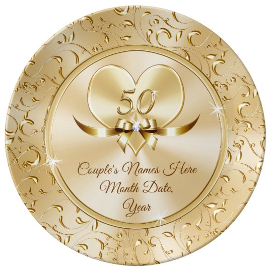 Personalised 50th Wedding Anniversary Gifts: Custom Best 50th Anniversary Gifts For Couples Plate